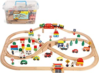 On Track USA 100 Piece All in One Wooden Train Set with Accessories, Comes in A Clear Container, Compatible with All Major Brands