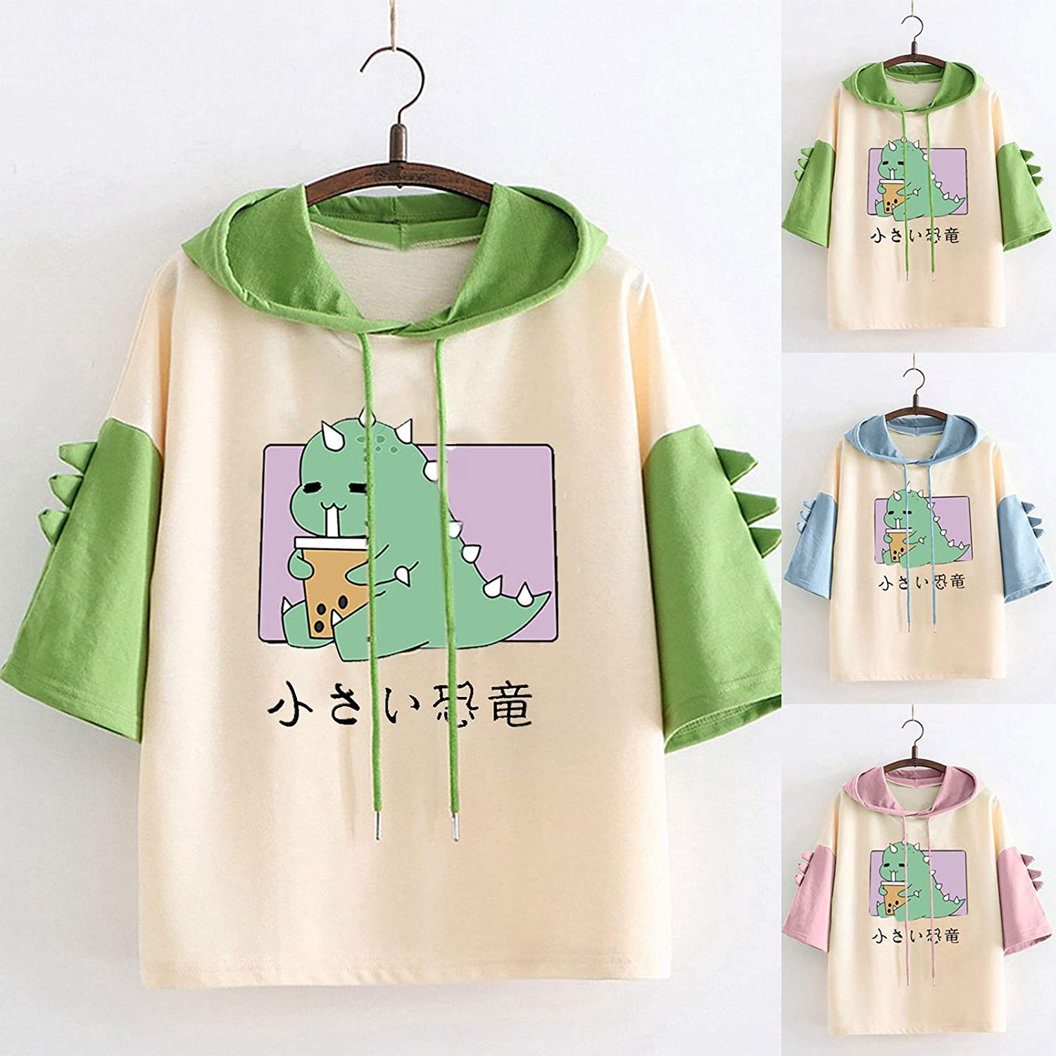 Hoodie Dinosaur Tops for Women Base Short Sleeve T-Shirts Casual Graphic Tees Color Block Blouses Classic Pullover