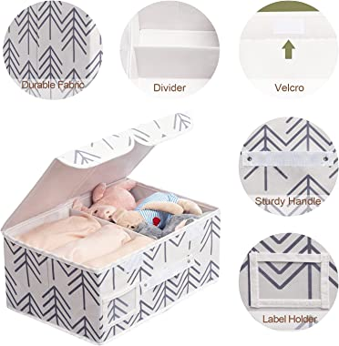 Edergoo Closet Storage Bins with Lids, 3 Packs Collapsible Storage Basket with Lid, Fabric Storage Boxes with Handles, Lidded