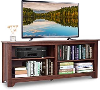 Tangkula TV Stand, Classic Design Wood Storage Media Console Entertainment Center for TV up to 60