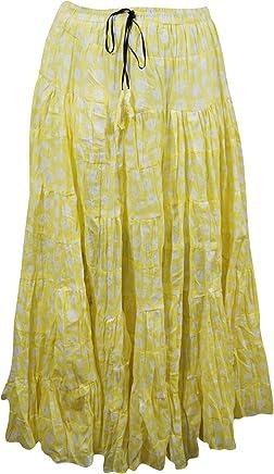 Mogul Interior Womens Boho Skirt Yellow Cotton Tiered Hippie Gypsy Maxi Skirts