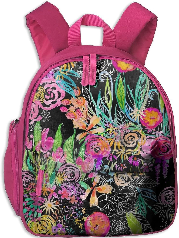 Lightweight Travel School Backpack Neon Flowers(7974) For Girls Teens Kids