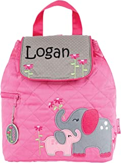 Monogrammed Me Personalized Quilted Backpack, Pink Pink Elephant, with Custom Vinyl Name