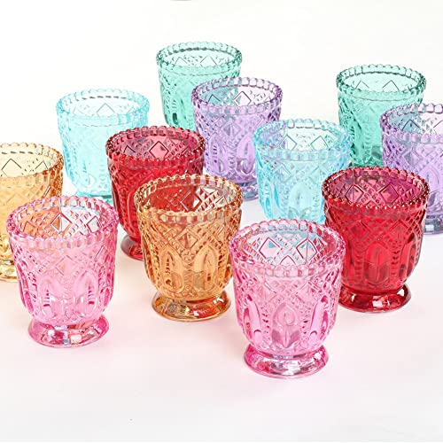 a4c6094fa2f9 Koyal Wholesale Jewel Tone Votive Vintage Glass Candle Holders