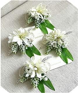 White Orchid Artificial Rose Wrist Corsage Bracelet Silk Flower Bridesmaid Hand Flowers Daisy Wedding Party Decoration,1 Piece C Wrist,M