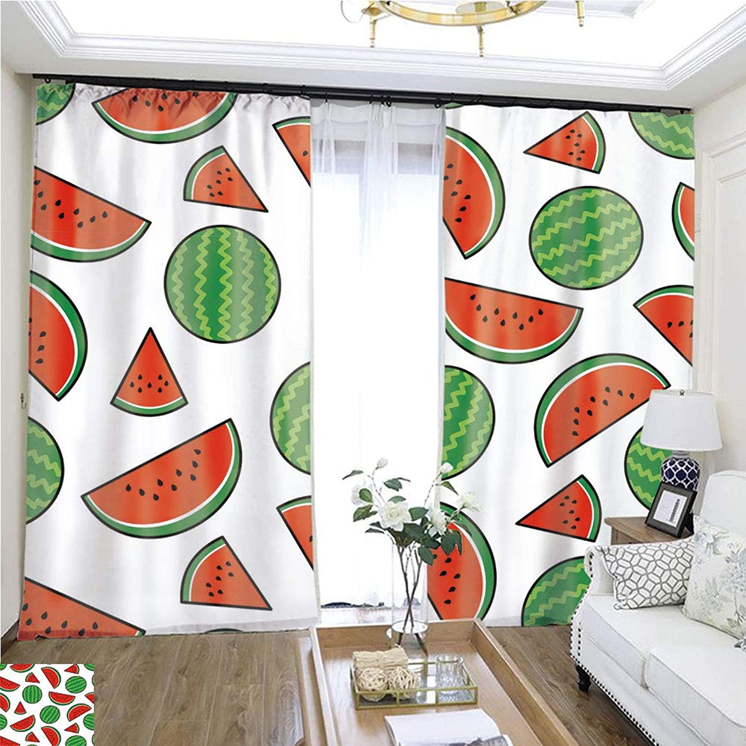 Air Port Screen Cute Watermelon Random on White Background W96 x L300 Provide Heat Highprecision Curtains for bedrooms Living Rooms Kitchens etc.