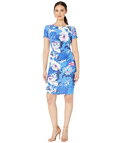 Adrianna Papell Floral Elbow Sleeve Side Draped Sheath Dress (Blue Multi) Women