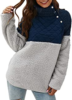 Fossen MuRope Abrigos Mujer Invierno de Felpa Color de Empalme - Pullover Abrigo Mujer con Botón y Bolsillo Elegantes Lana...