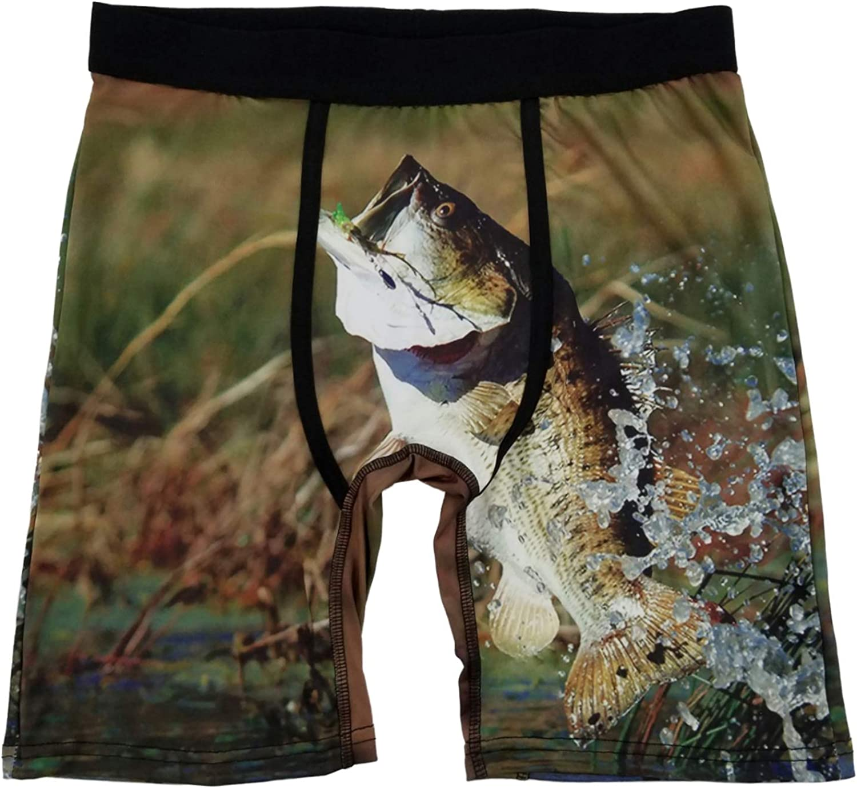 Mens Multicolor Bass Fishing FocusFit Boxer Briefs Underwear