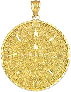 14k Yellow Gold Aztec Charm Mayan Calendar Pendant