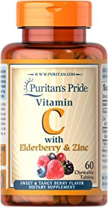 Puritan's Pride Vitamin C with Elderberry & Zinc for Immune System Support, Chewables, 60 Count (Pack of 1)