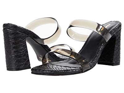 KAANAS Florence Snake Embossed Heels w/ Vinyl Straps (Black) Women