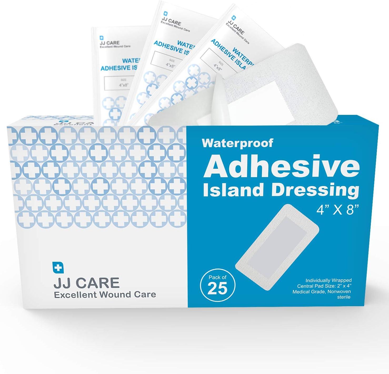 "JJ CARE [Pack of 25] Waterproof Adhesive Island Dressing 4"""