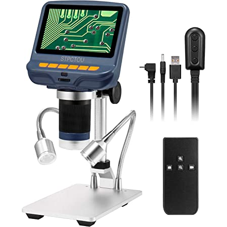 LCD Digital Microscope 4.3 inch 1000X Magnification USB Microscope 8 LED Adjustable Light Video Camera Microscope for Phone Repair Soldering Jewelry Biologic