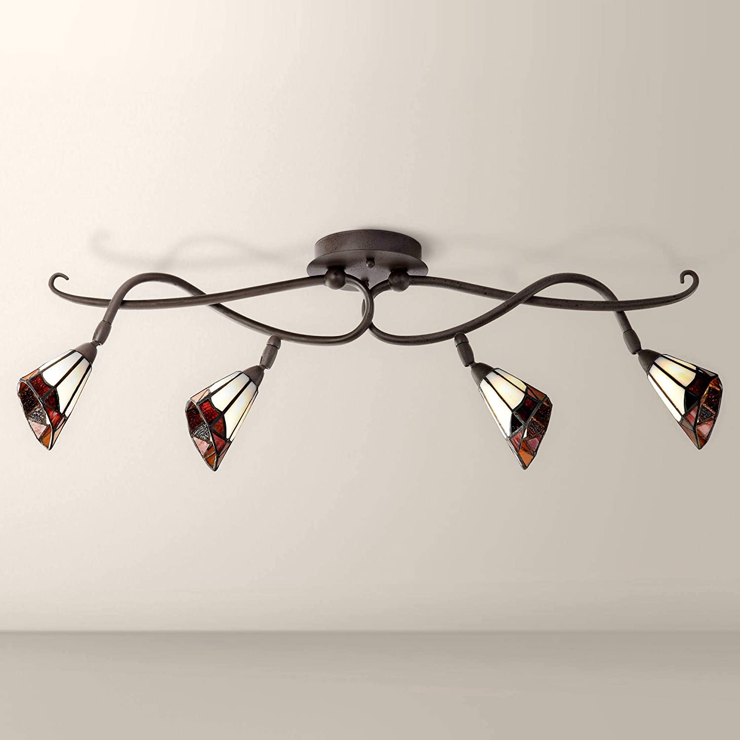 Pro Track Tiffany-Style Glass Colorado Springs Mall Finally resale start Scroll Light Ceiling T -