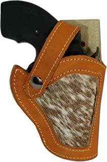 Barsony New Saddle Tan Leather Hair on Hide Inlay Gun Holster for Snub Nose 2