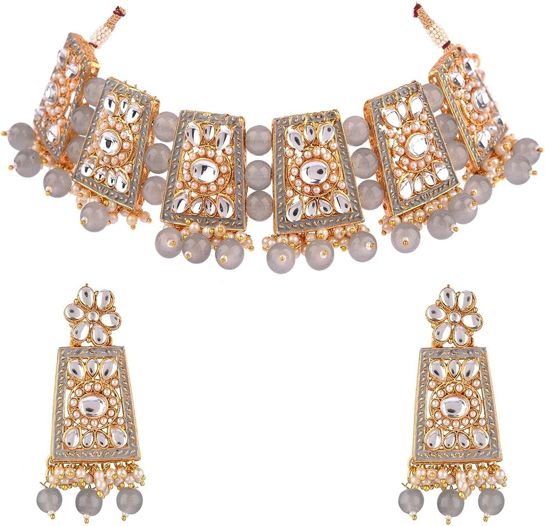 Efulgenz Indian Jewelry Bollywood Faux Pearl Crystal Choker Kundan Necklace Earrings Wedding Jewelry Set