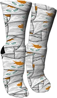 Cyprus Flag Wave Collage Crazy Funny Colorful Novelty Graphic Basketball Crew Tube Socks