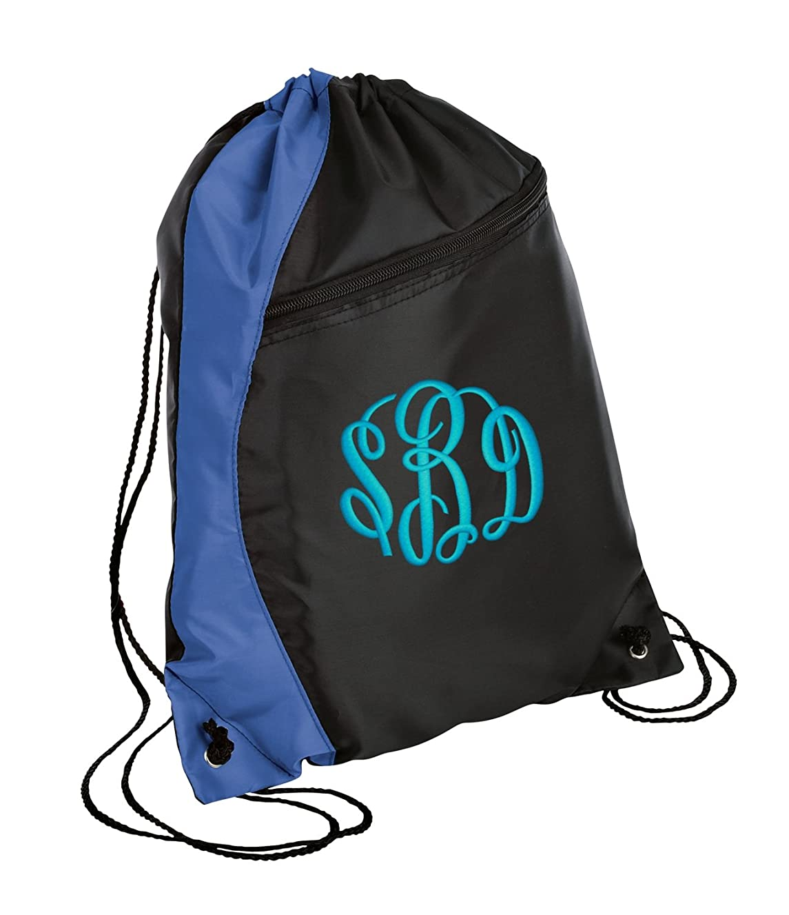 All about me company Colorblock Cinch Bag | Personalized Monogram/Name Sackpack Bag (Royal/Black)