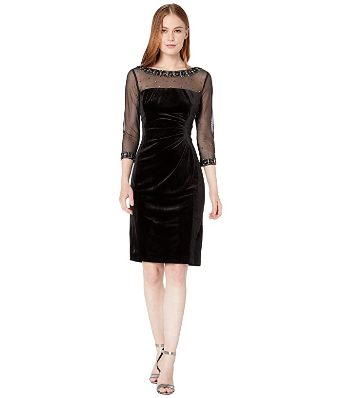1940s Cocktail Dresses, Party Dresses Tahari by ASL Stretch Velvet Cocktail Dress with Illusion Mesh and Beaded Sleeves and Neckline Black Womens Clothing $148.00 AT vintagedancer.com