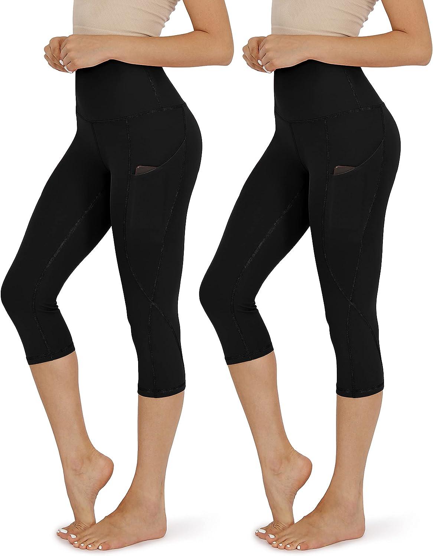 ODODOS Women's High Waisted Yoga Capris with Pockets,Tummy Contr