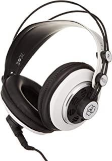 AKG M220 Pro Stylist Professional Large Diaphragm DJ Semi-Open High Definition Over-Ear Studio Headphones - White