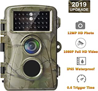 AlfaView Trail Camera 12MP 1080P Wildlife Scouting Hunting Camera Motion Activated Night Vision Game Cam with 2.4 LCD Display IP56 Waterproof Design for Wildlife Hunting and Home Security