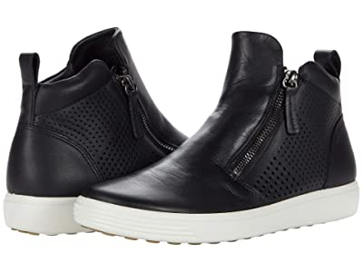 ECCO Soft 7 Perforated Bootie (Black) Women