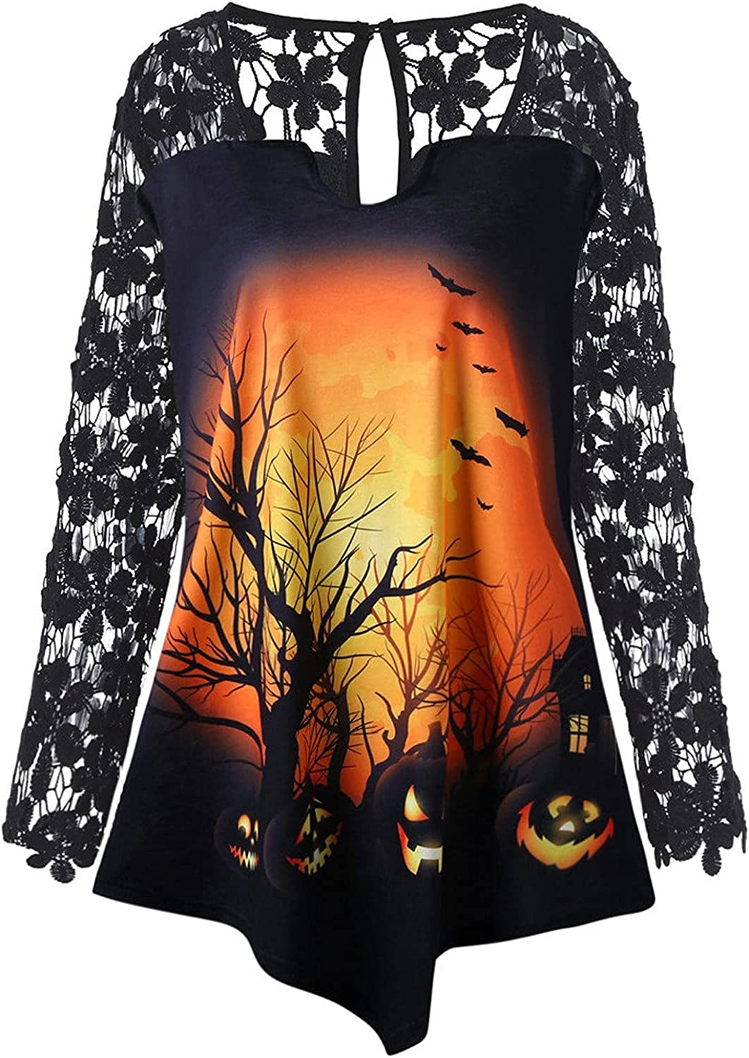 Jchen Halloween Shirt for Women Long Floral Patchwor Popular shop is the 40% OFF Cheap Sale lowest price challenge Sleeve Lace