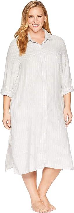 Plus Size Long Sleeve Roll Cuff Ballet Sleepshirt