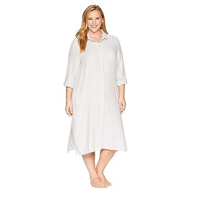 LAUREN Ralph Lauren Plus Size Long Sleeve Roll Cuff Ballet Sleepshirt (Grey Heather Print) Women