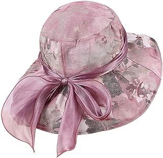 Women Bohemia Cap Summer Bnowknot Floral Wide Brim Beach Summer Sun Hat Floppy Cap Headwear