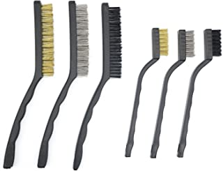 1PC 180mm Steel Brush Set Cleaning Brushes Brass Coated Scrub Rust Weels W6Y2