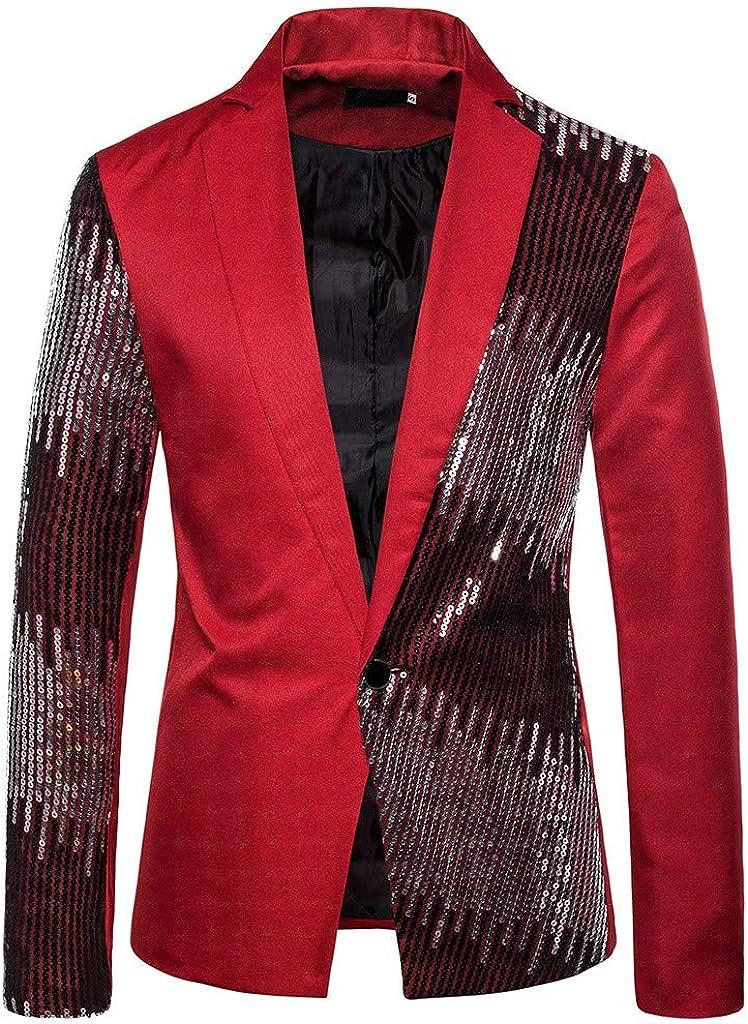 Charm Blazers for Men Casual Fit Suit Patchwork Coat Jacket Sequin Party Top