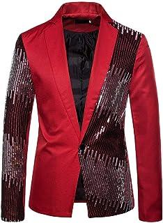 Blazer Uomo Elegante Brillantini con Paillettes Glitterati Classic Giacca Abito Cerimonia Matrimonio Smoking Carnevale Hal...