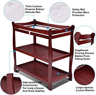 LUARANE Baby Changing Table, Wooden Infant Newborn Diaper Changing Nursery Station, Modern Dresser Changing Table w/2 Open Sh
