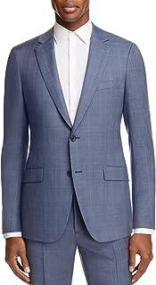 Theory Mens Short Plaid Print Two Button Wool Blazer