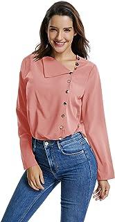 UAress 女士纽扣细节长袖雪纺衬衫宽松版型休闲上衣衬衫