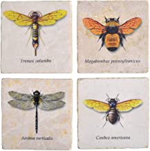 Studio Vertu Flying Insects Marble Coasters, Set of 4