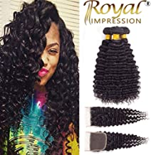 Brazilian Virgin Pineapple Deep Wave 3 Bundles with Closure Natural Color 10A Virgin Remy Hair with Lace Closure Free Part (18
