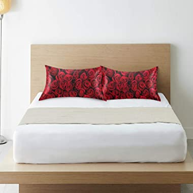 KEEPREAL Natural Red Rose Satin Pillowcase for Hair and Skin Silk Pillowcase - Slip Cooling Satin Pillow Covers with Envelope