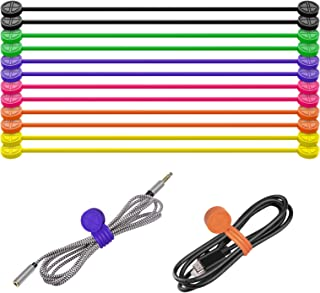Atree Silicone Strong Magnetic Twist Ties for Bundling or Organizing Cables/Cords, Hanging or Holding Stuff 12 Pack 6 Colo...