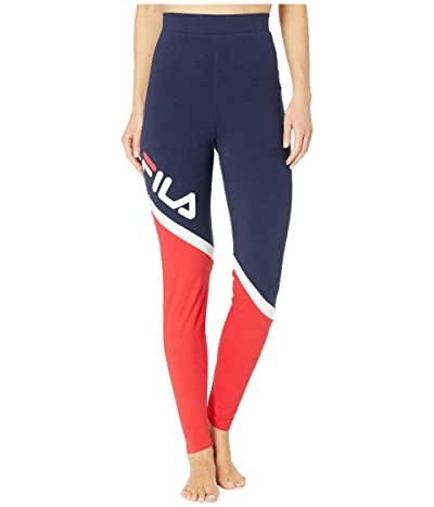 Fila Roxy Cut Sew Leggings (Peacoat/Chinese Red/White) Women