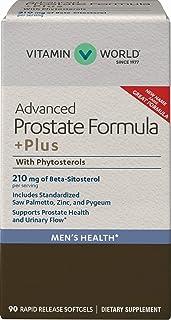 Vitamin World Advanced Prostate Formula +Plus with Phytosterols 90 Softgels, Advanced Prostate Formula, Saw Palmetto, Zinc...