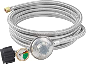 SHINESTAR 12ft Propane Regulator Hose with Propane Tank Gauge, Stain Steel Braided LP Gas Regulator, 3/8in Female Flare Fitting for Fire Pit, Burner Stove, Heater, Grill and Generator