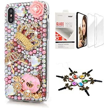 STENES iPhone XR Case - Stylish - 3D Handmade [Sparkle Series] Bling Crown Ballet Girls Pumpkin Car Design Cover Compatible with iPhone XR with Screen Protector [2 Pack] - Pink