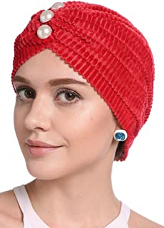 YI HENG MEI Frauen Elegante Cord Perle gefaltete indische Turban Hut Chemo Krebs Cap
