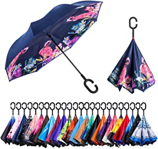 Reversible Umbrella – Dual Layer Inverted Umbrella, Self-Stand & C-Shape Hook to Free Hands, Reverse Inside Out Folding for Car Driver & Passenger, with Carrying Sleeve