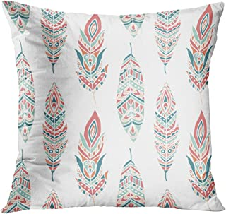 Lichtion Throw Pillow Cover Print Seamless Pattern Ethnic Feathers Hand Drawn Decorative Soft Bedroom Sofa Living Room Car Pillowcase Cushion Couch 18 x 18 Inch