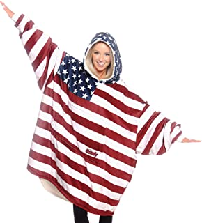 THE COMFY: Original Blanket Sweatshirt, Seen on Shark Tank, Invented by 2 Brothers, American Flag, Warm, Soft Cozy, Oversized, Large, Patriotic, Red, White, Blue, 4th of July, Wearable Sherpa Hoodie